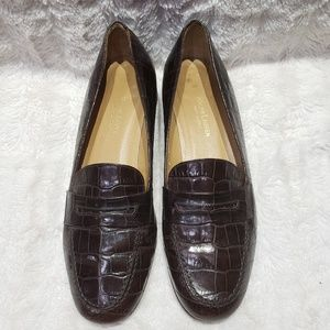 Ralph Lauren Brown Croc Leather Loafers